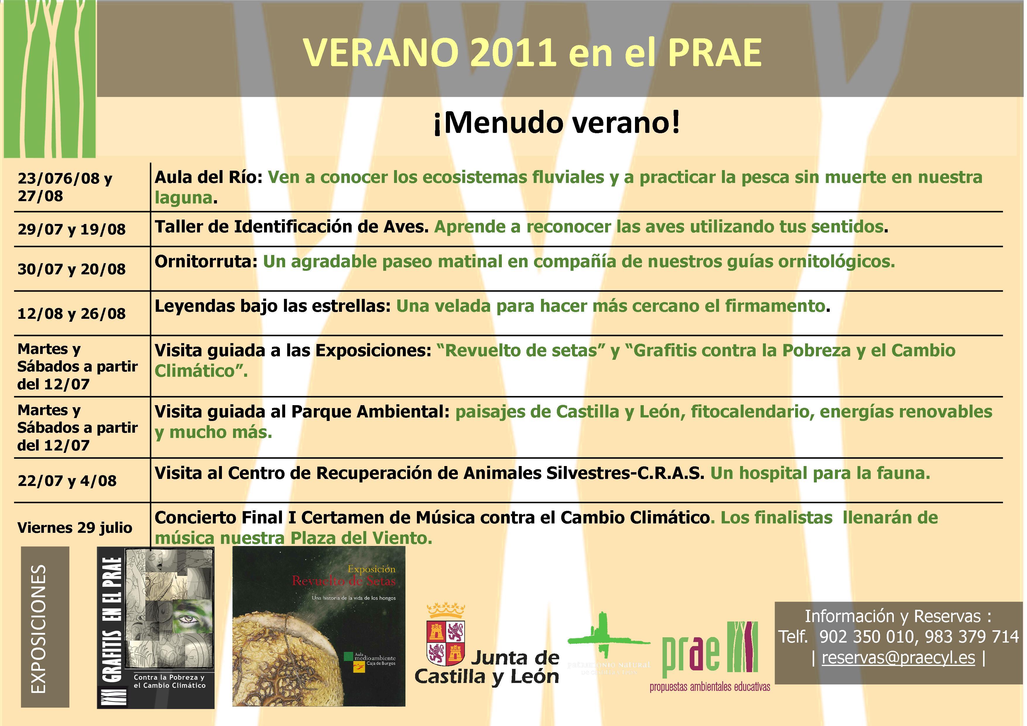 Cartel de Actividades Verano 2011 en el PRAE