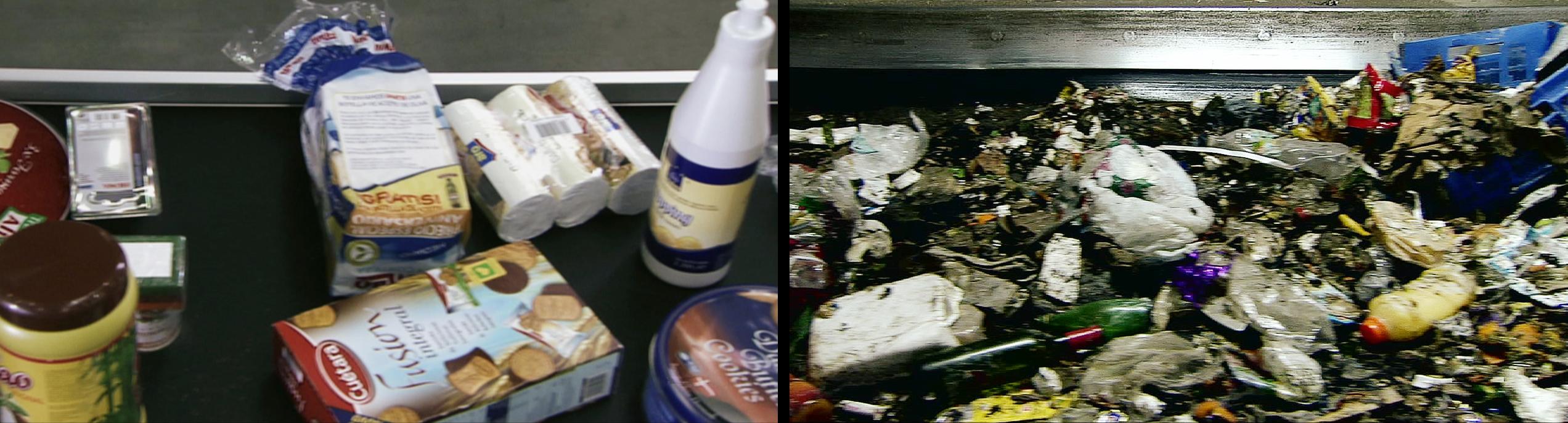 Basurama. Chainwork (2009). Vídeo-Díptico. 04'48'' en bucle. (Montaje de dos fotogramas del vídeo-díptico de las cintas de supermercado y planta de reciclaje).