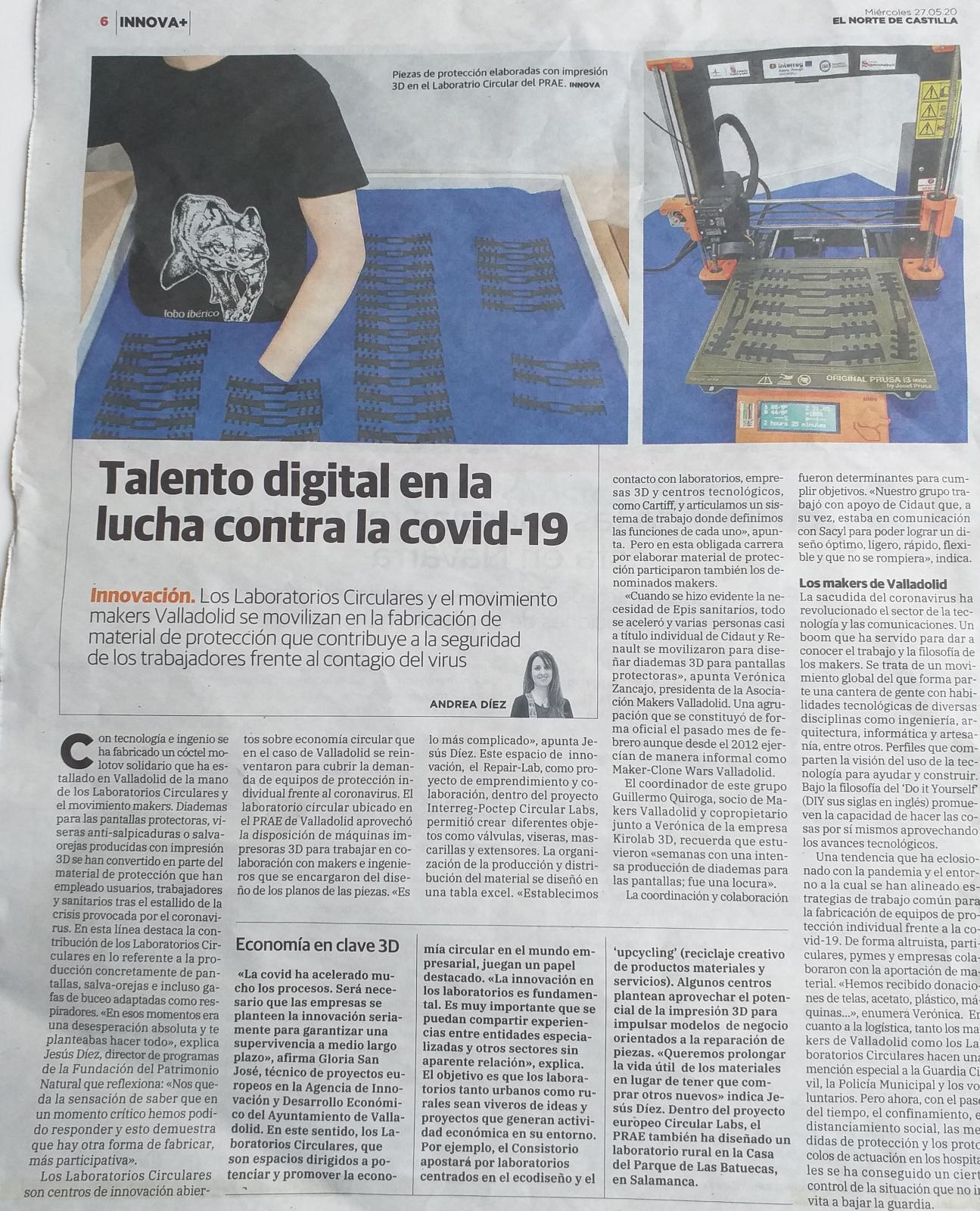 El circular lab del PRAE y el movimiento makers Valladolid en la lucha contra el covid