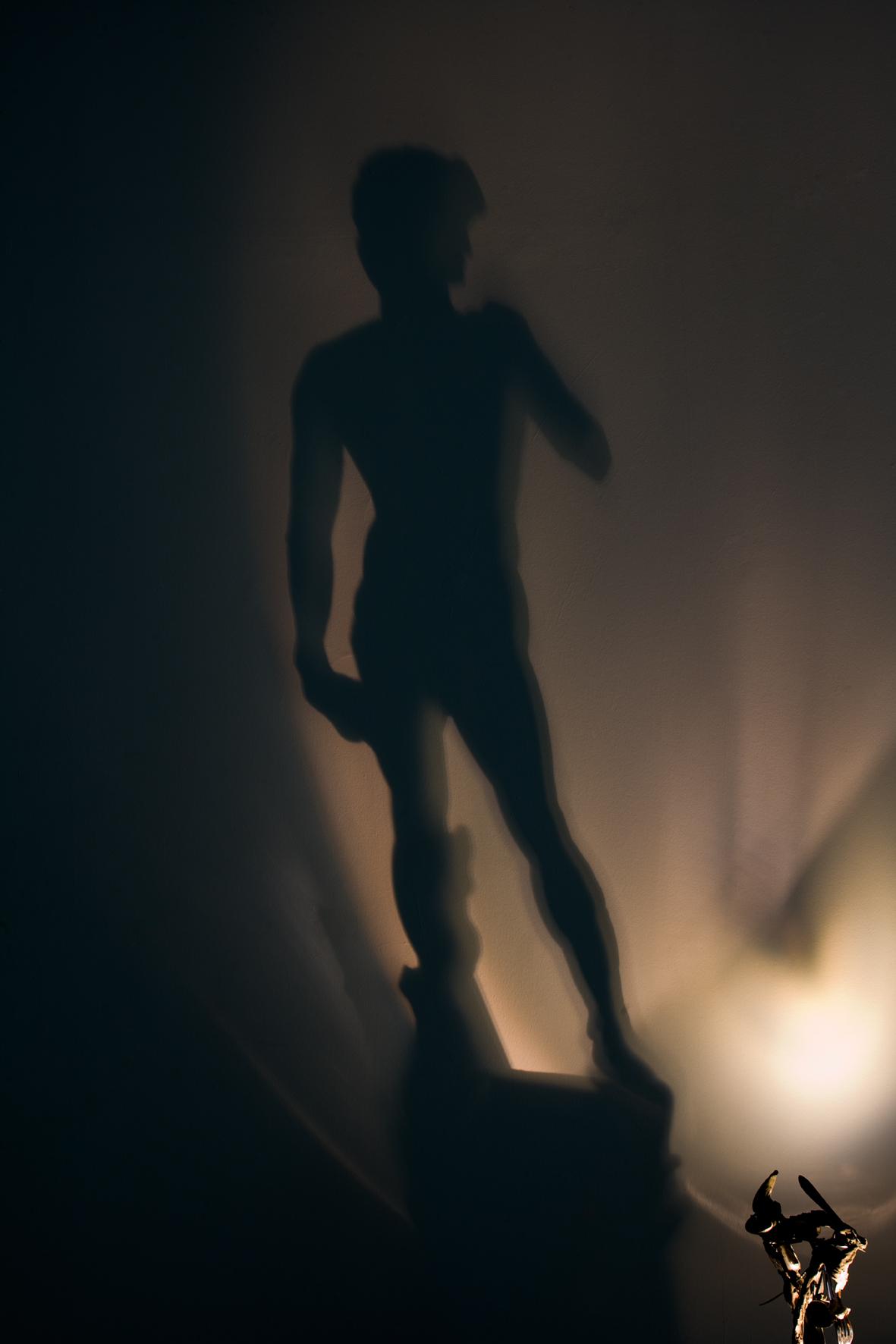 """Diet Wiegman. David after dinner (1983). Instalación, materiales diversos. (Foto con la sombra del David de Miguel Ángel, pero sin desvelar el """"truco"""" de la proyección. Sólo asoma la puntita...)."""